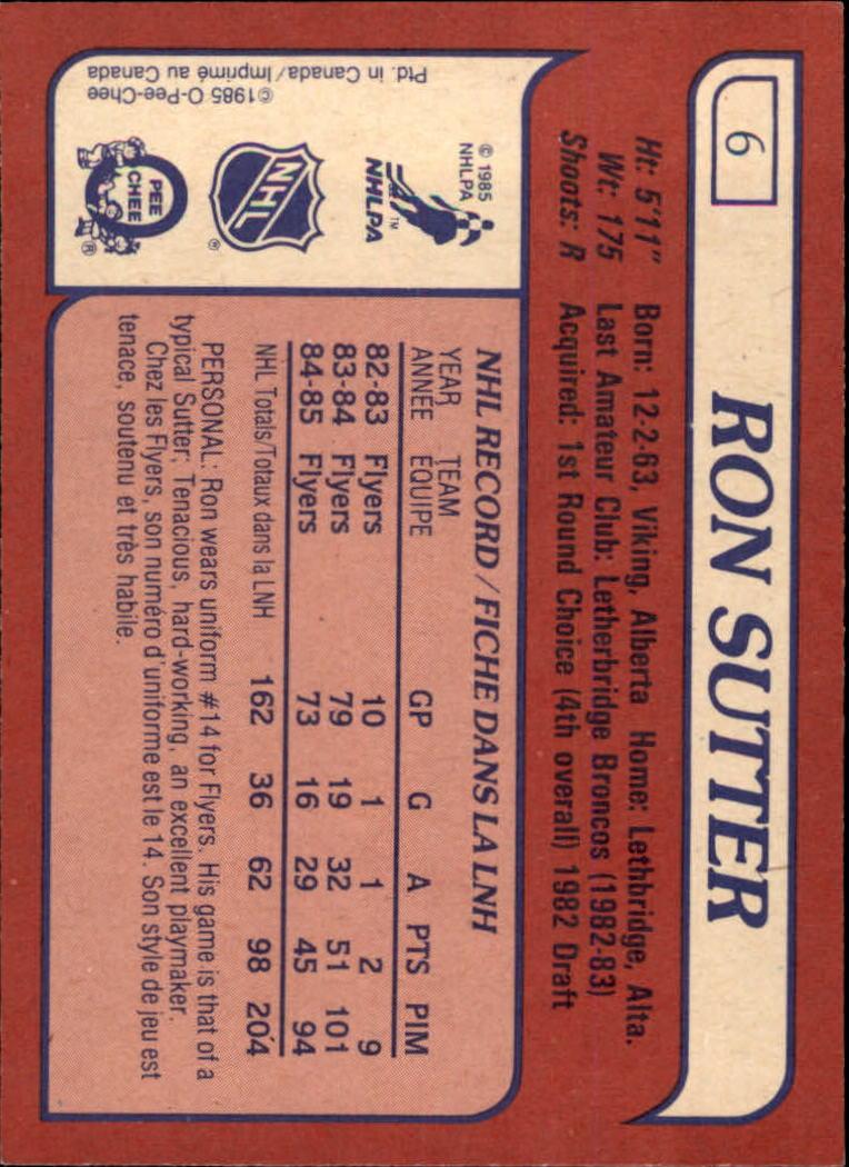 1985-86 Topps #6 Ron Sutter back image