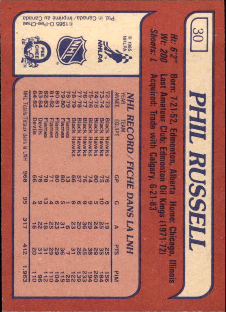 1985-86 Topps #30 Phil Russell back image
