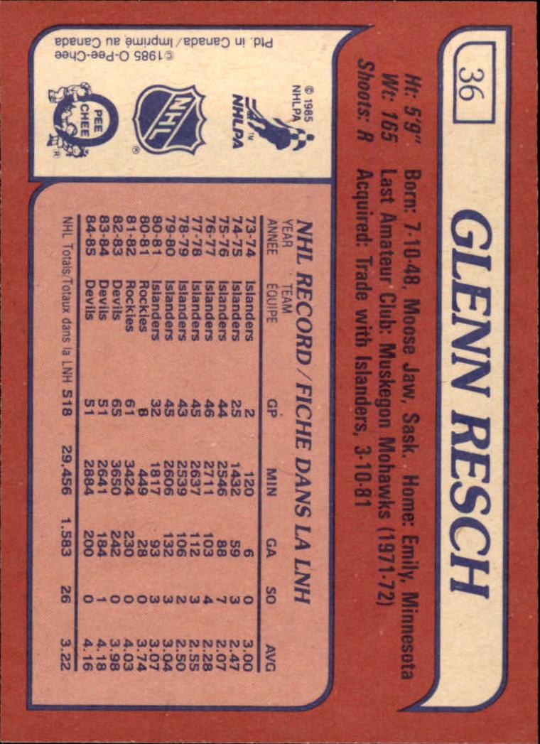 1985-86 Topps #36 Glenn Resch back image