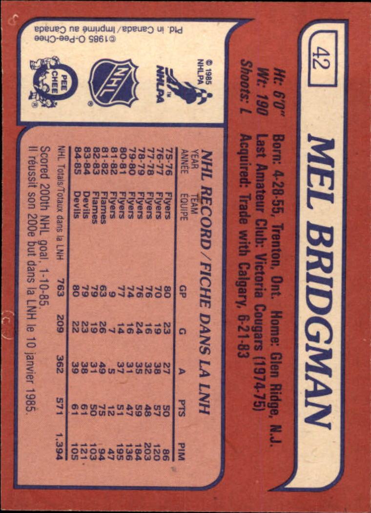 1985-86 Topps #42 Mel Bridgman back image