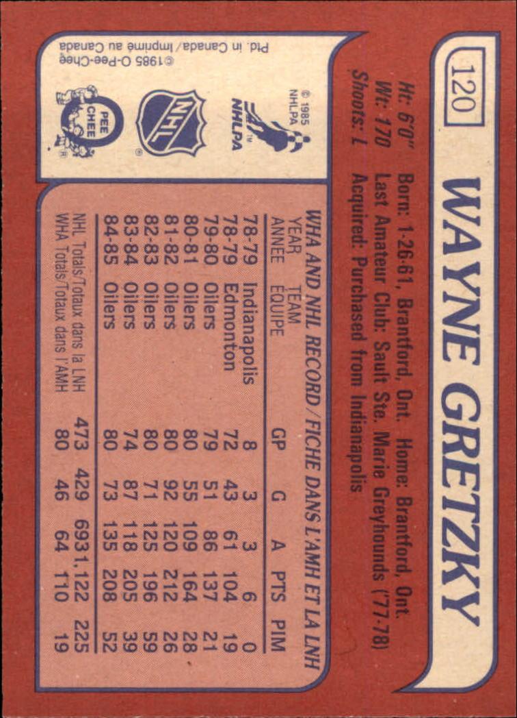 1985-86 Topps #120 Wayne Gretzky back image