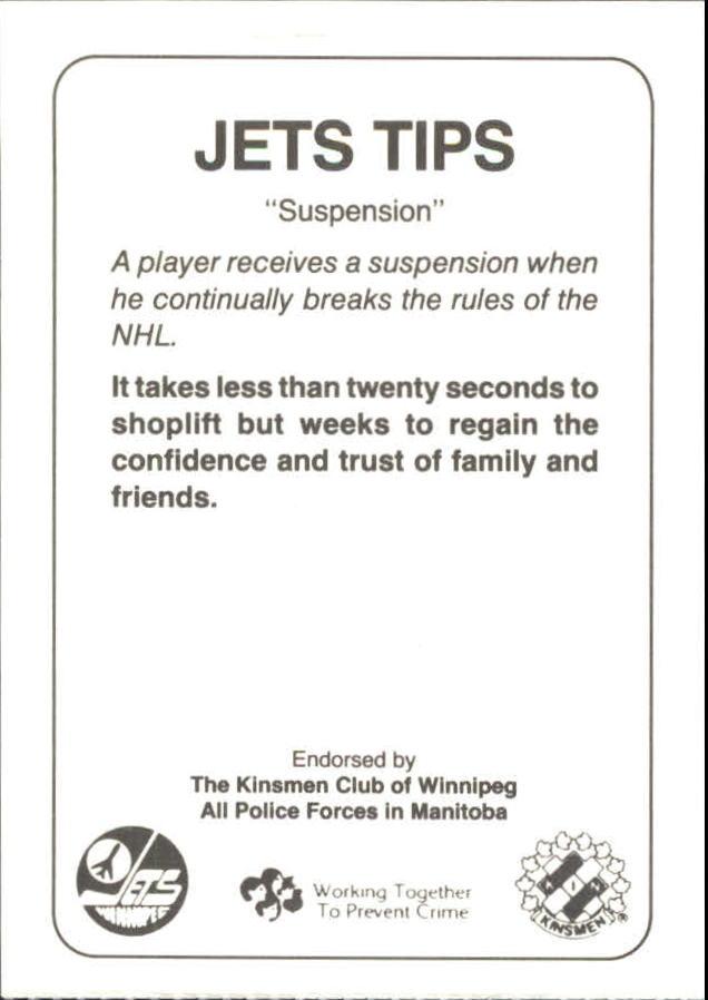 1988-89 Jets Police #12 Jim Kyte 6 back image