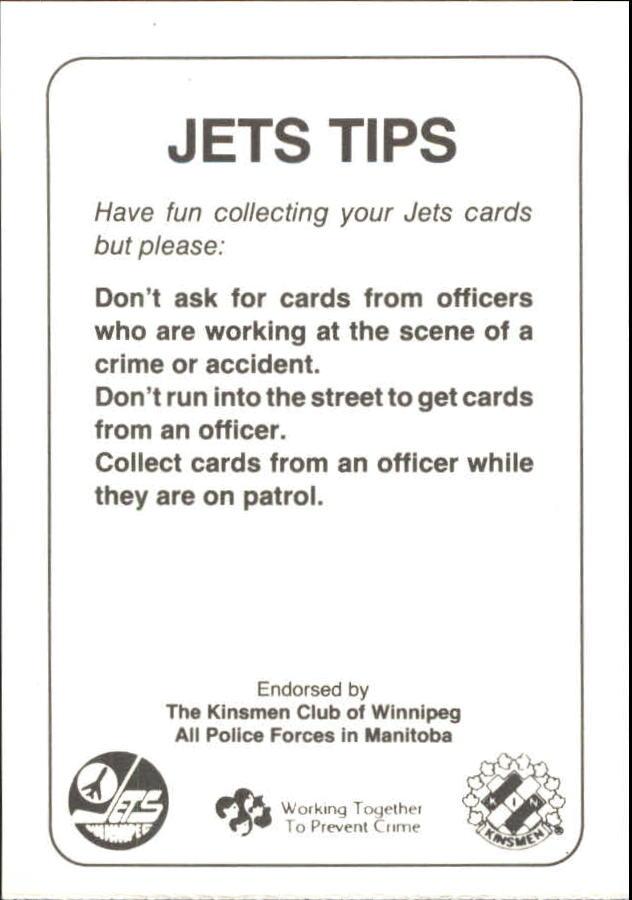 1988-89 Jets Police #13 Dan Maloney CO back image