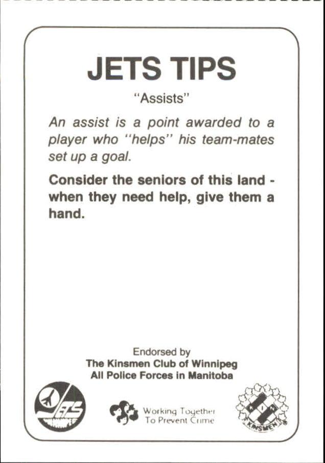 1988-89 Jets Police #14 Mario Marois 22 back image