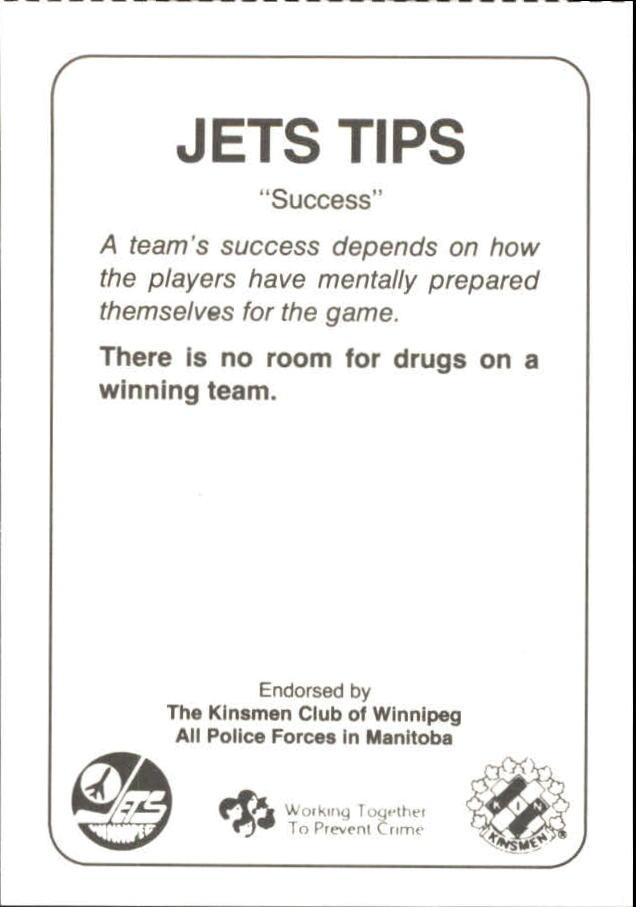 1988-89 Jets Police #19 Eldon Reddick 33 back image