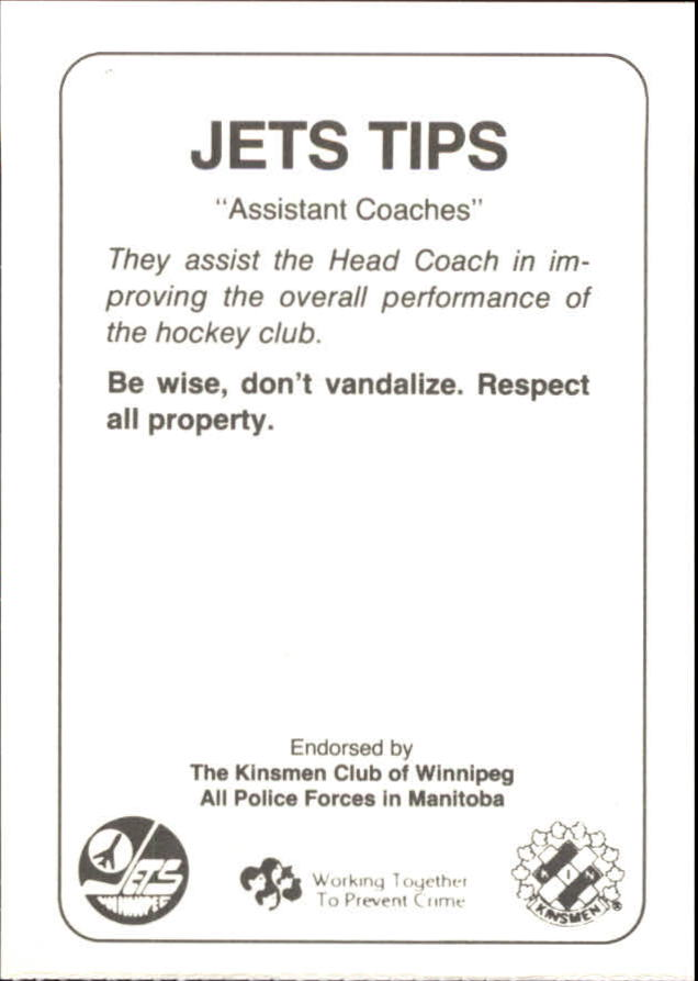 1988-89 Jets Police #23 Assistant Coaches/Bill Sutherland/Bruce Southern/Rick St.Croix back image