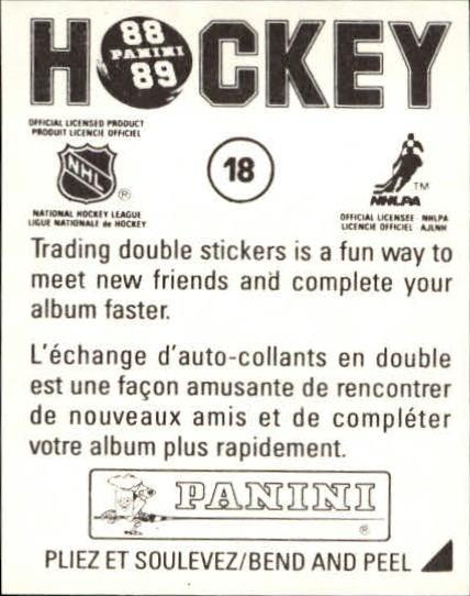 1988-89 Panini Stickers #18 Blackhawks Emblem back image