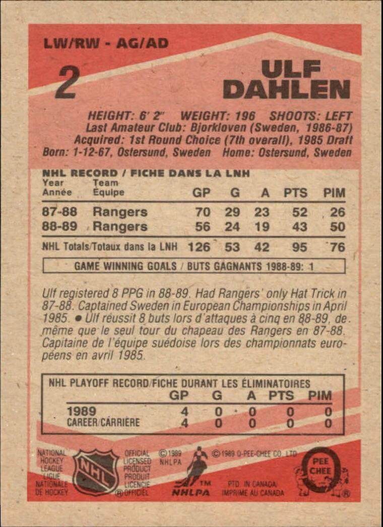 1989-90 O-Pee-Chee #2 Ulf Dahlen back image