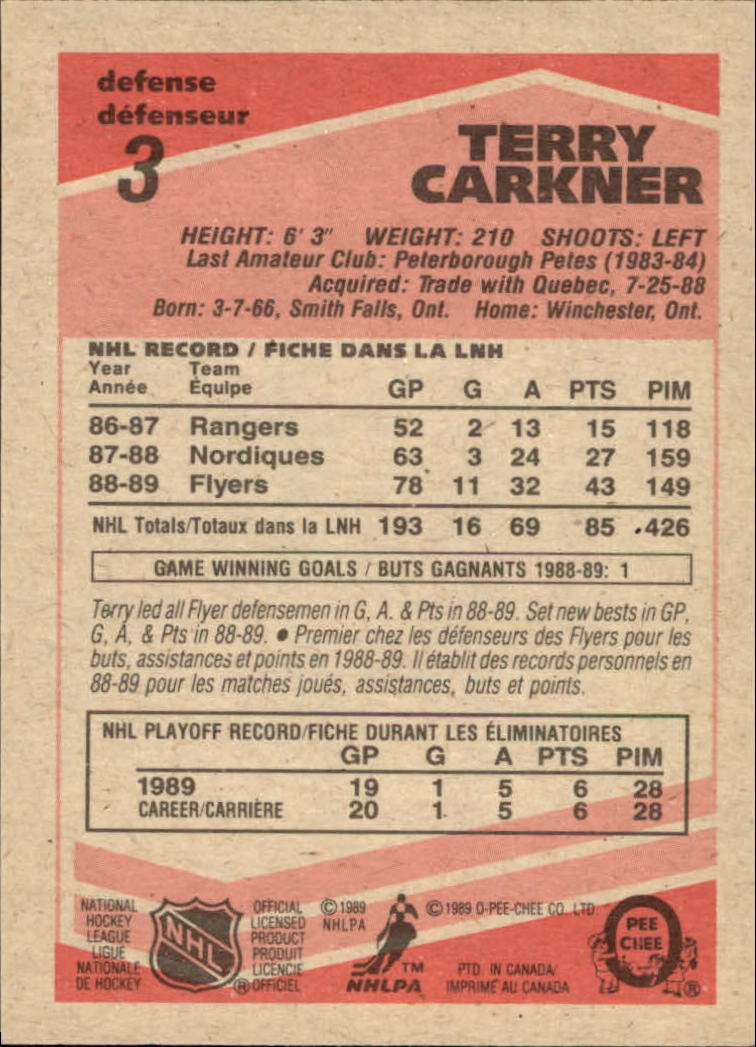 1989-90 O-Pee-Chee #3 Terry Carkner RC back image