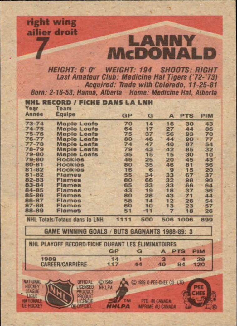 1989-90 O-Pee-Chee #7 Lanny McDonald back image