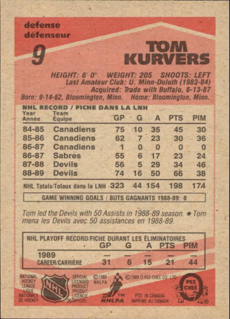 1989-90 O-Pee-Chee #9 Tom Kurvers back image