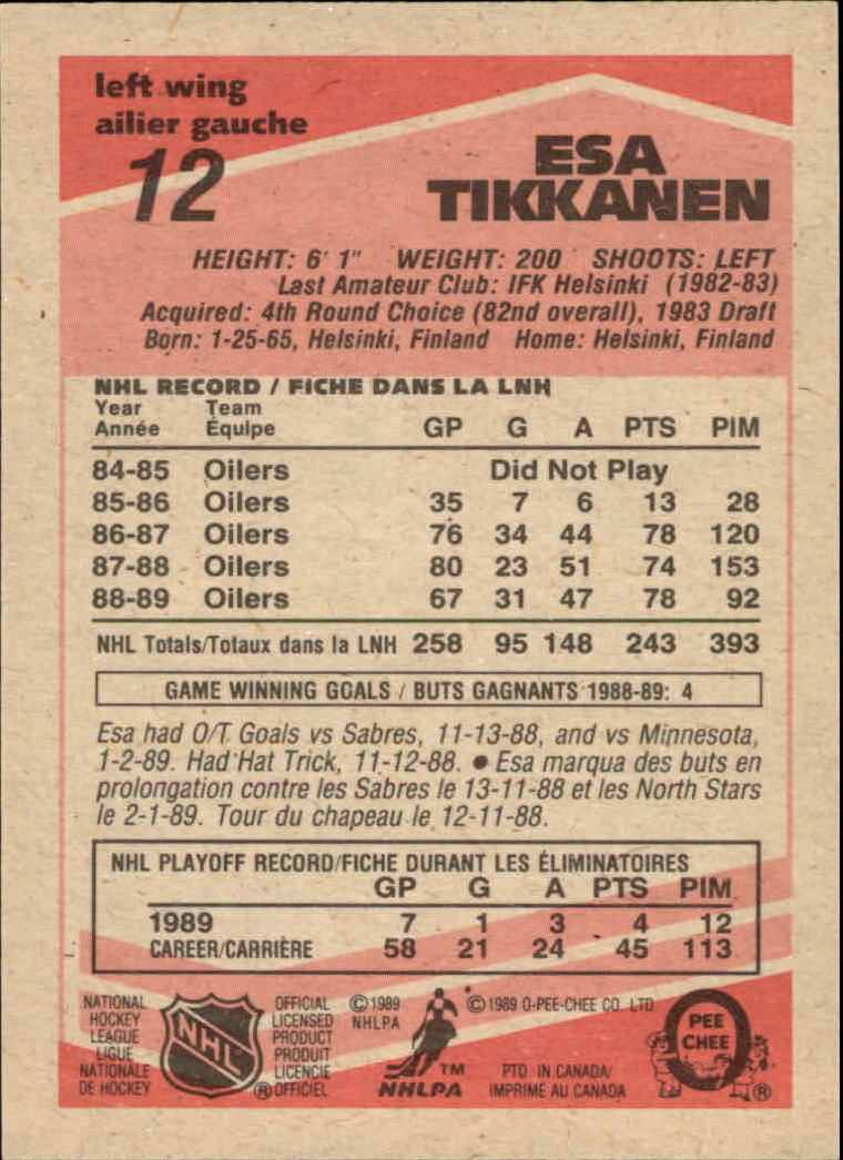 1989-90 O-Pee-Chee #12 Esa Tikkanen back image