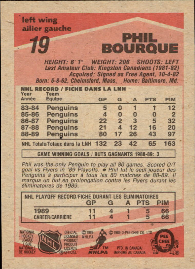 1989-90 O-Pee-Chee #19 Phil Bourque RC back image