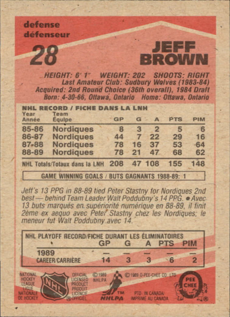 1989-90 O-Pee-Chee #28 Jeff Brown back image