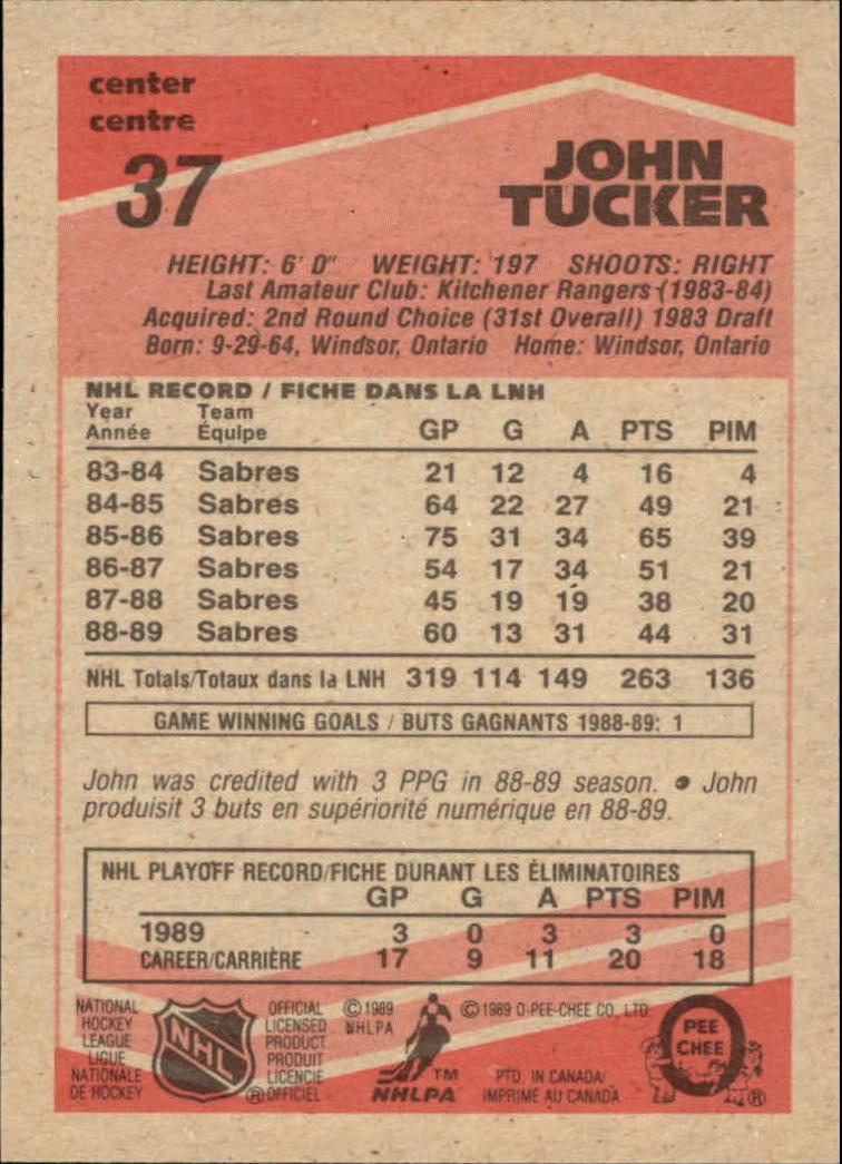 1989-90 O-Pee-Chee #37 John Tucker back image