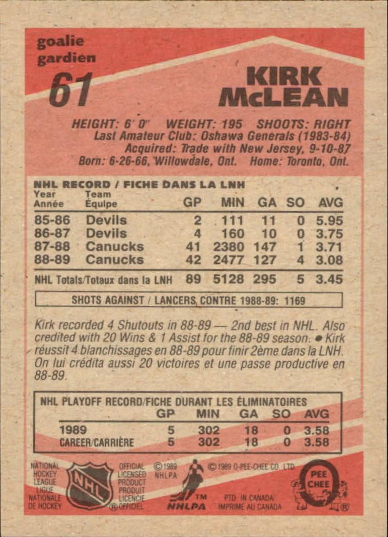1989-90 O-Pee-Chee #61 Kirk McLean RC back image