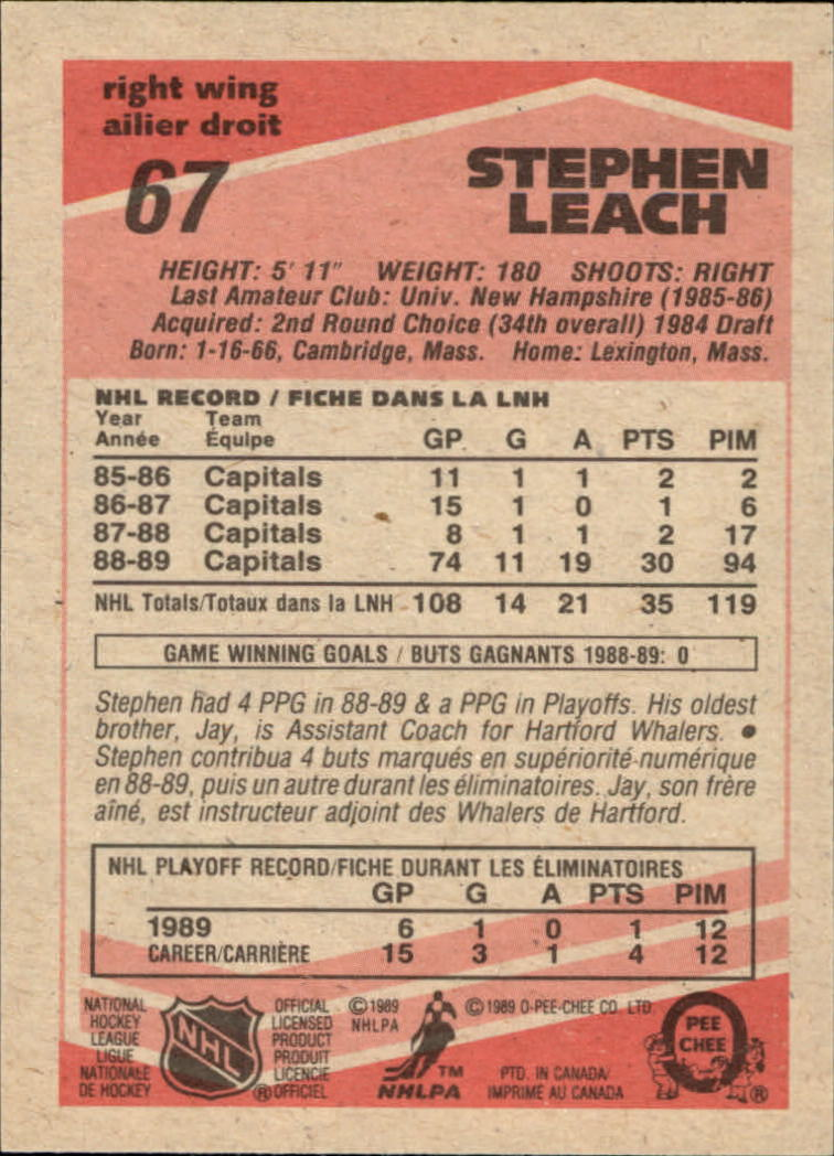 1989-90 O-Pee-Chee #67 Stephen Leach RC back image