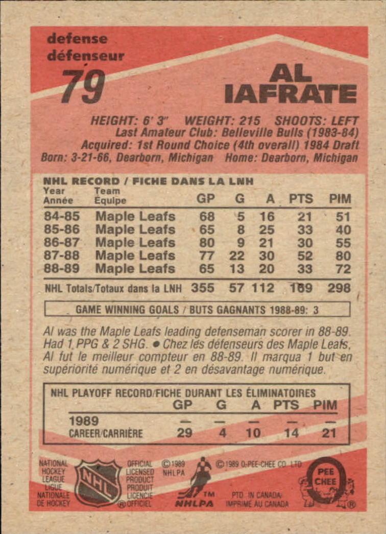 1989-90 O-Pee-Chee #79 Al Iafrate back image