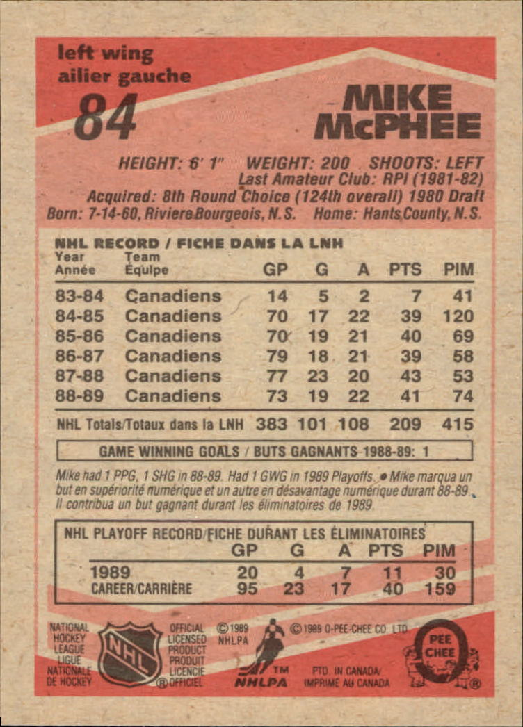 1989-90 O-Pee-Chee #83 Steve Yzerman back image