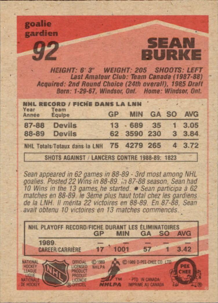 1989-90 O-Pee-Chee #92 Sean Burke back image