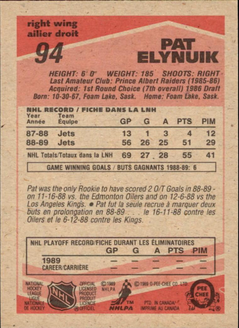1989-90 O-Pee-Chee #94 Pat Elynuik RC back image