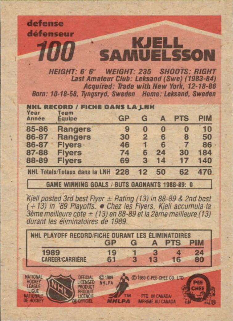 1989-90 O-Pee-Chee #100 Kjell Samuelsson RC back image