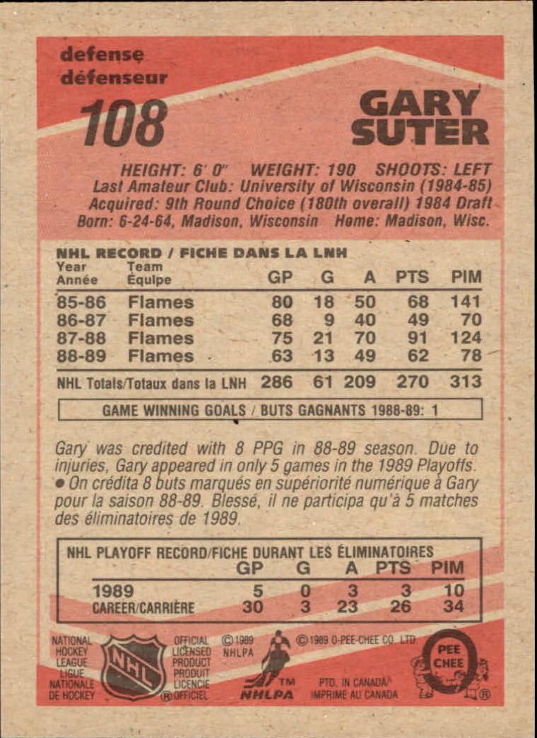 1989-90 O-Pee-Chee #108 Gary Suter back image