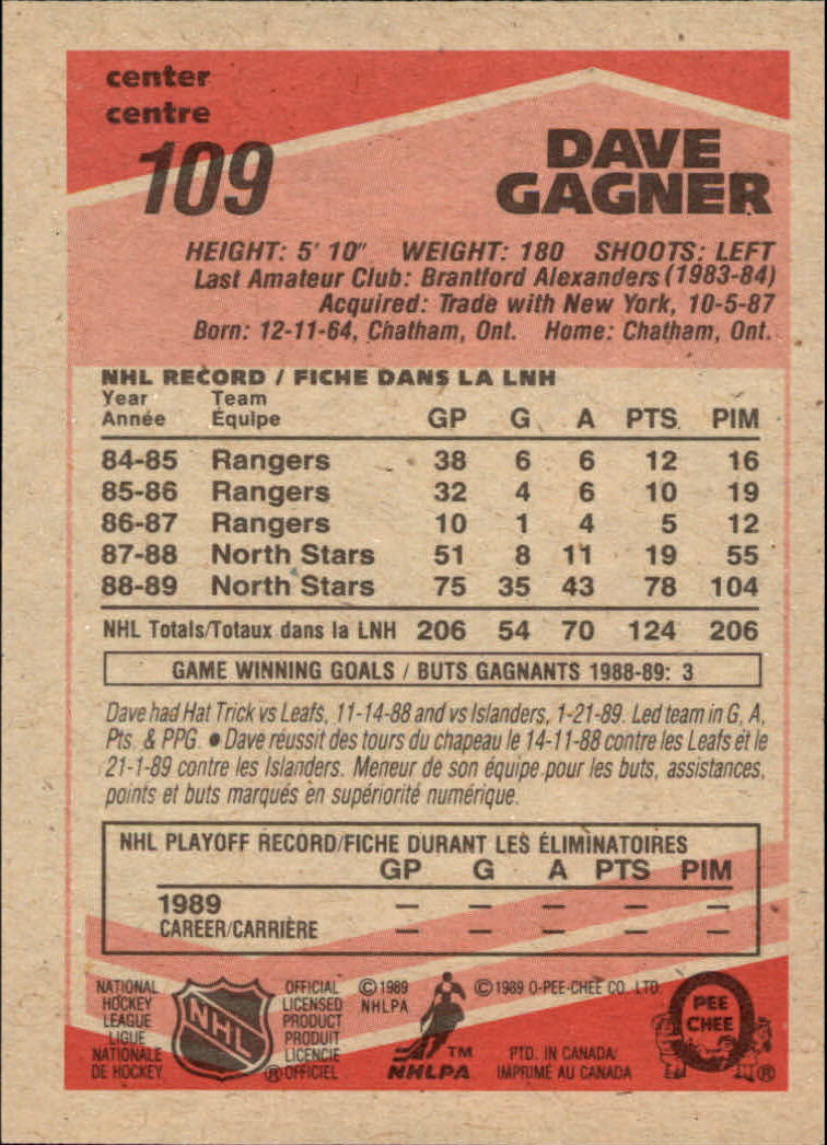 1989-90 O-Pee-Chee #109 Dave Gagner back image