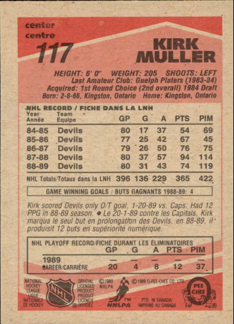 1989-90 O-Pee-Chee #117 Kirk Muller back image