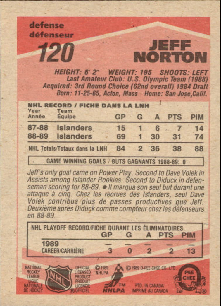 1989-90 O-Pee-Chee #120 Jeff Norton RC back image