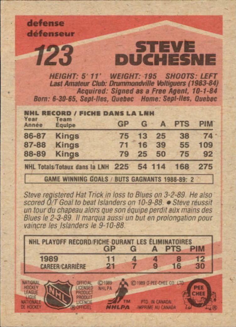 1989-90 O-Pee-Chee #123 Steve Duchesne back image