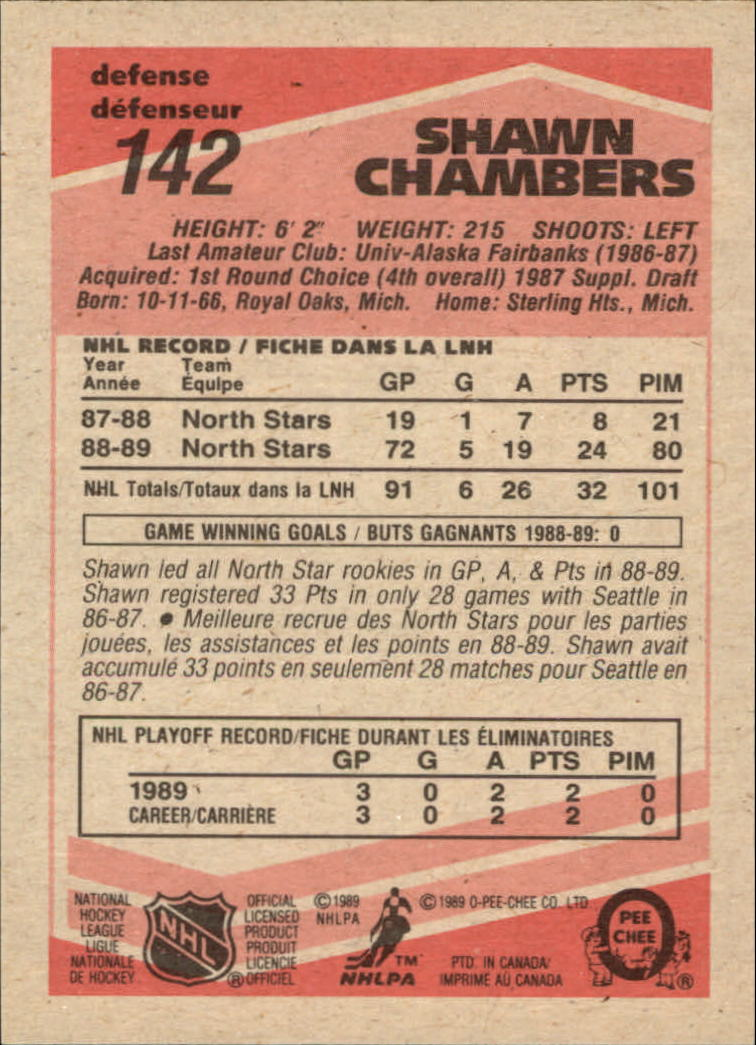 1989-90 O-Pee-Chee #142 Shawn Chambers RC back image