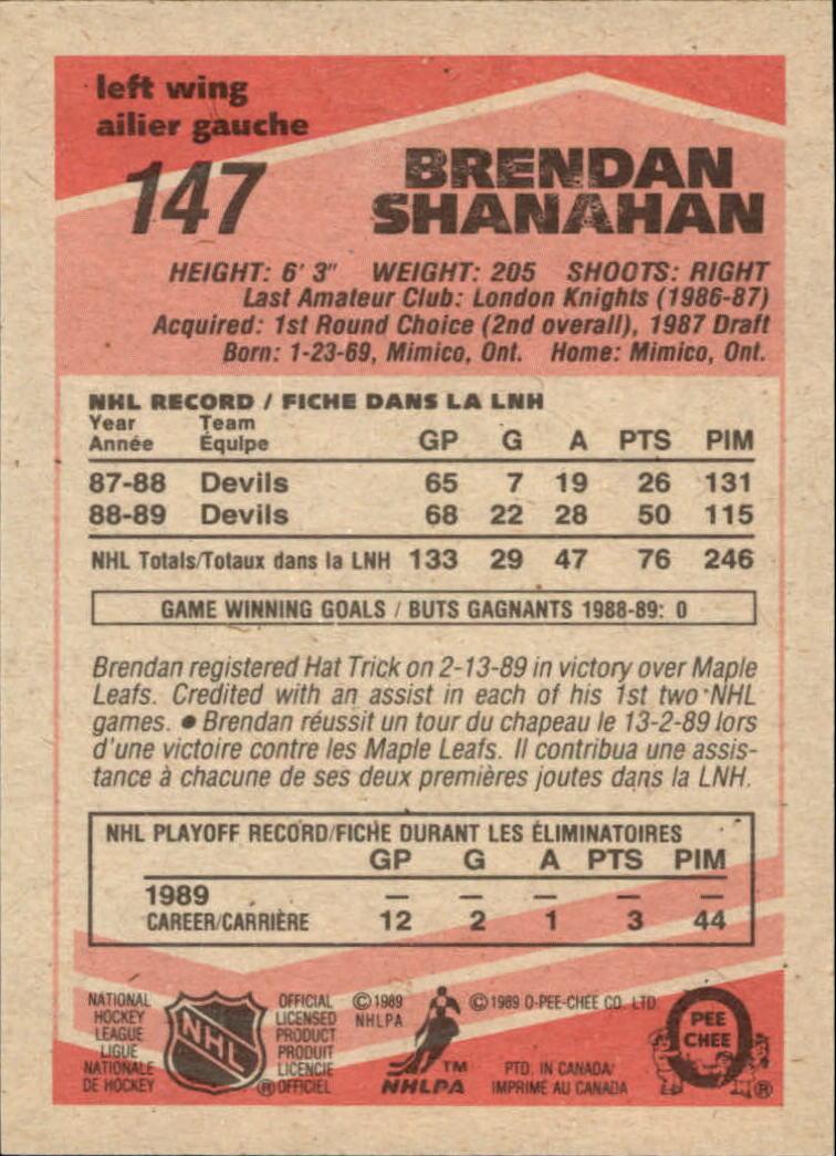 1989-90 O-Pee-Chee #147 Brendan Shanahan back image