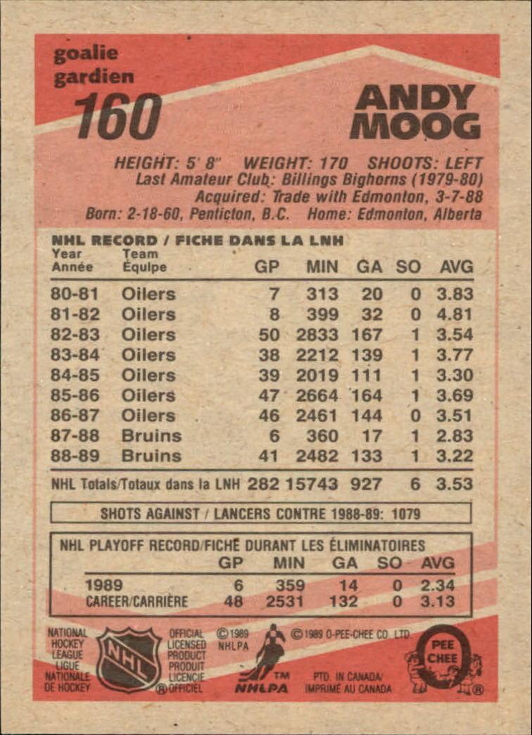 1989-90 O-Pee-Chee #160 Andy Moog back image