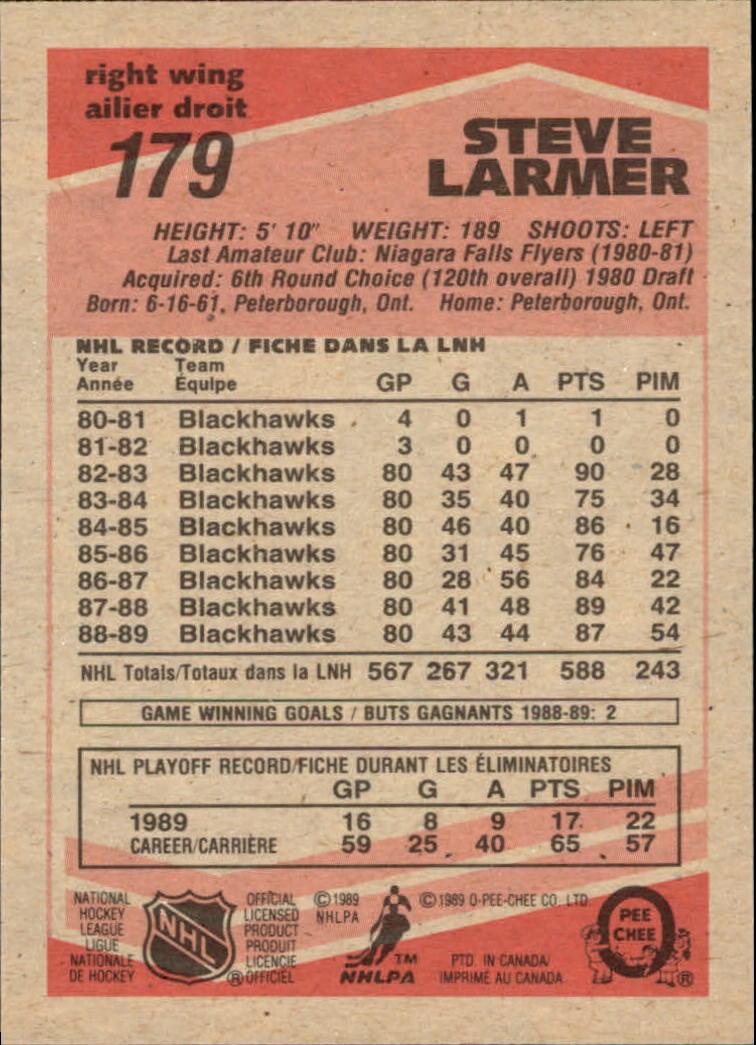 1989-90 O-Pee-Chee #179 Steve Larmer back image