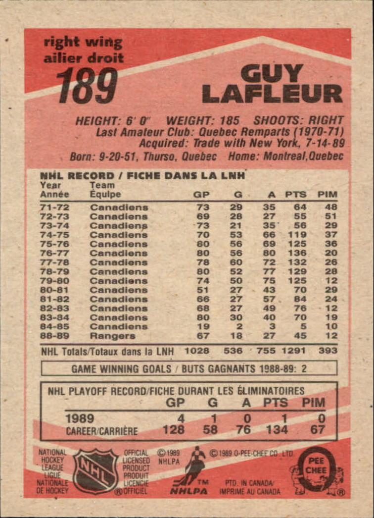 1989-90 O-Pee-Chee #189 Guy Lafleur back image