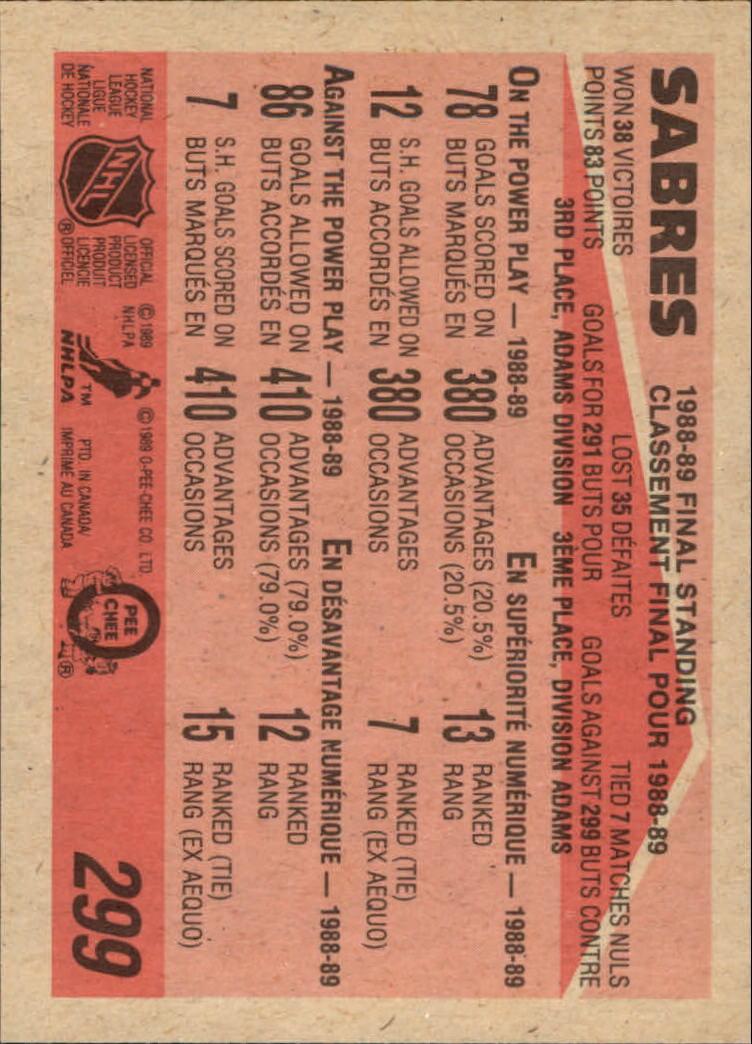 1989-90 O-Pee-Chee #299 Buffalo Sabres back image
