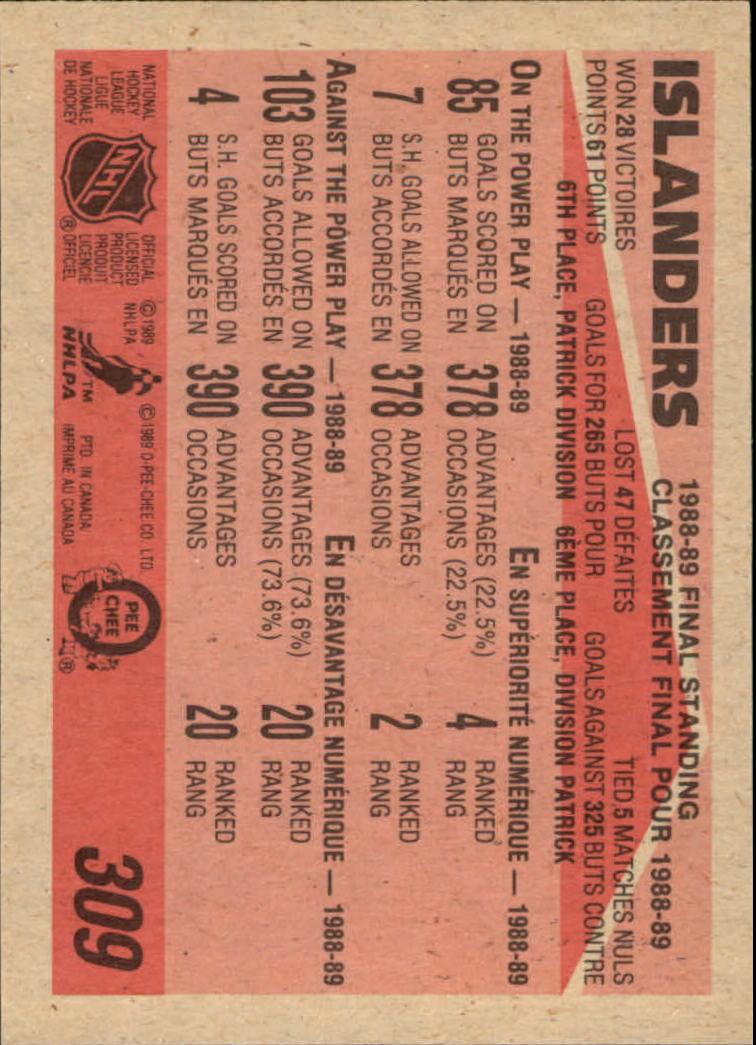 1989-90 O-Pee-Chee #309 New York Islanders back image