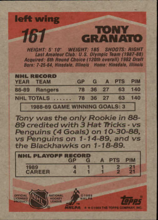 1989-90 Topps #161 Tony Granato RC back image