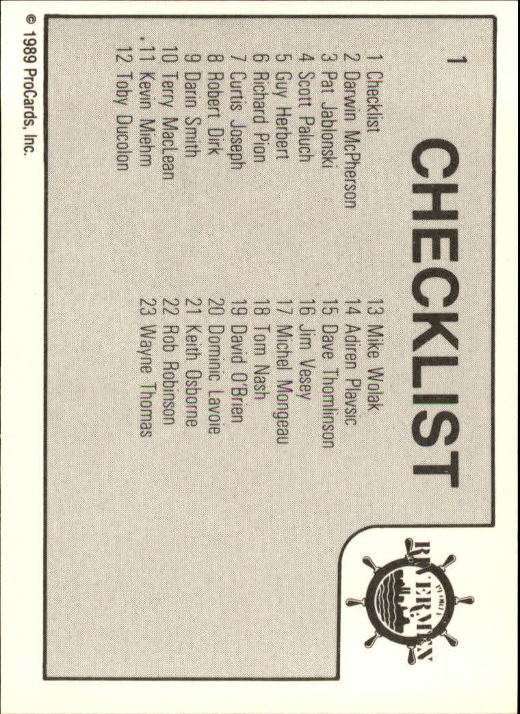 1989-90 ProCards IHL #1 Peoria Checklist back image