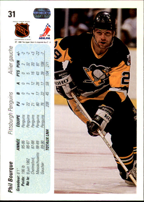 1990-91 Upper Deck French #31 Phil Bourque back image