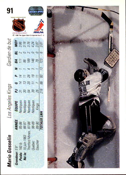 1990-91 Upper Deck French #91 Mario Gosselin back image