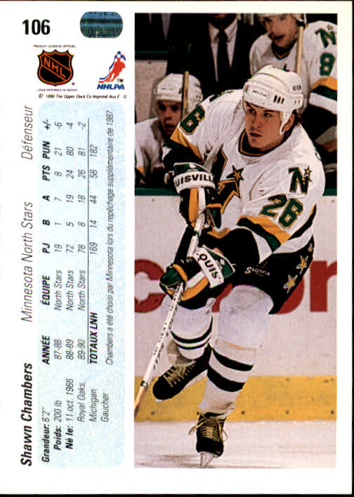 1990-91 Upper Deck French #106 Shawn Chambers back image