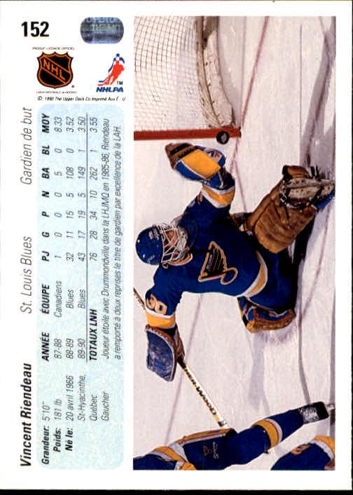 1990-91 Upper Deck French #152 Vincent Riendeau RC back image