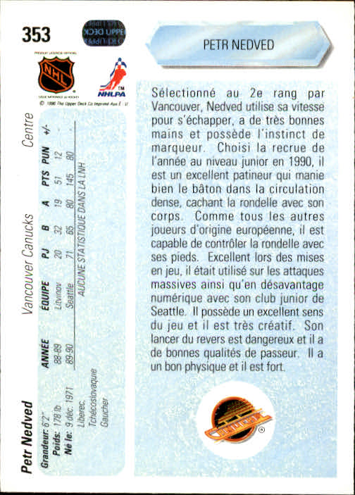 1990-91 Upper Deck French #353 Petr Nedved RC back image