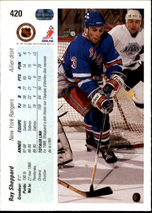 1990-91 Upper Deck French #420 Ray Sheppard back image