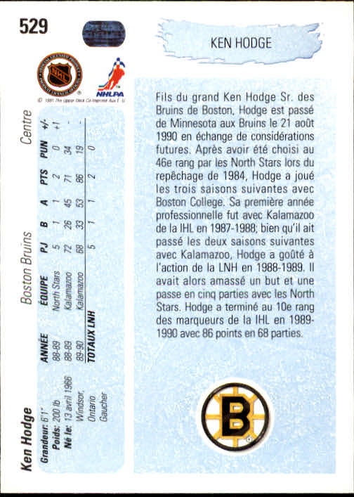 1990-91 Upper Deck French #529 Ken Hodge Jr. YG RC back image