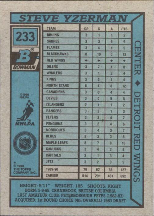 1990-91 Bowman #233 Steve Yzerman back image