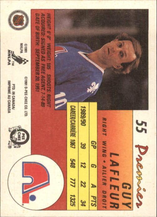 1990-91 OPC Premier #55 Guy Lafleur back image