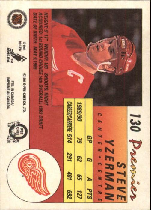 1990-91 OPC Premier #130 Steve Yzerman back image